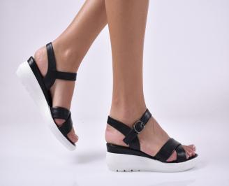 Дамски сандали на платформа естествена кожа черни BEIM-1013989