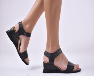 Дамски сандали на платформа естествена кожа черни DCHO-1014007