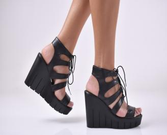 Дамски сандали на платформа естествена кожа черни FWAX-1014008