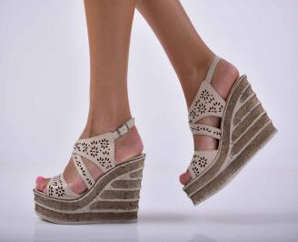 Дамски сандали на платформа естествена кожа бежови  XPXO-1015861