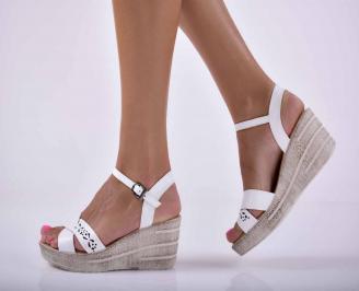 Дамски сандали на платформа естествена кожа бели  UQGP-1015872