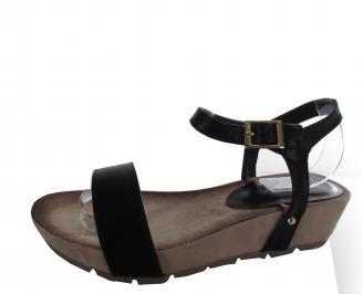 Дамски сандали на платформа еко кожа черни AWAD-21449