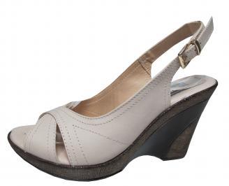Дамски сандали на платформа естествена кожа бежови ZPVT-21640