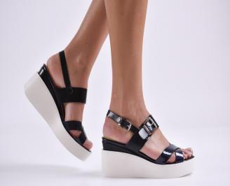 Дамски сандали на платформа еко кожа черни PLVA-23297