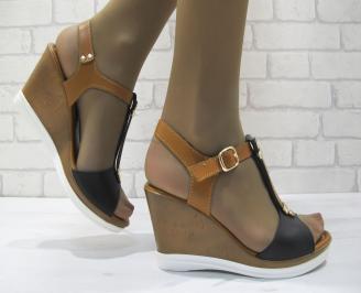 Дамски сандали на платформа еко кожа MKHF-23701