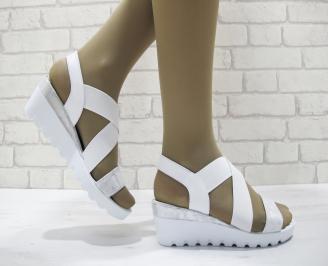 Дамски сандали на платформа еко кожа /текстил бели ZAAX-23795