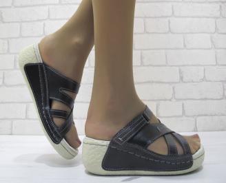 Дамски  сандали на платформа естествена кожа черни UGXJ-23810