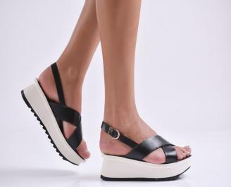 Дамски сандали на платформа еко кожа черни EBAC-23811