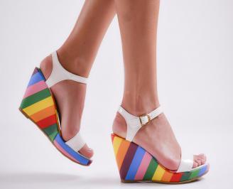 Дамски сандали на платформа еко кожа/лак бели ZCYT-23812