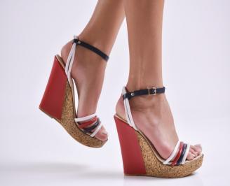 Дамски сандали на платформа бяло/синьо/червено еко кожа VGFB-23814