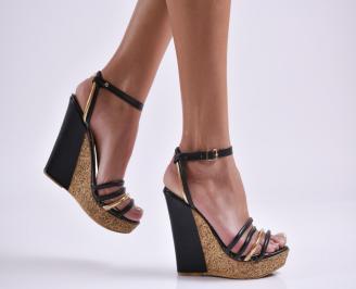 Дамски сандали на платформа черни еко кожа MYEA-23816