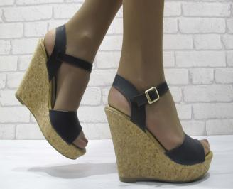 Дамски сандали на платформа еко кожа черни OEJH-23817