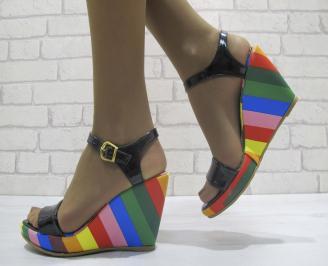 Дамски сандали на платформа еко кожа/лак черни CNTX-23818