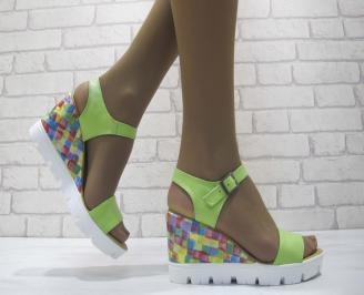 Дамски сандали на платформа еко кожа зелена KWMH-23819