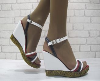 Дамски сандали на платформа бяло/синьо/червено еко кожа CLKK-23820