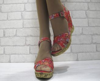 Дамски сандали на платформа шарени текстил DMGM-23822
