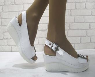 Дамски сандали на платформа естествена кожа бели UEUJ-23826