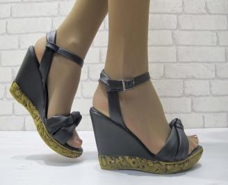 Дамски сандали на платформа черни еко кожа VLUC-23827
