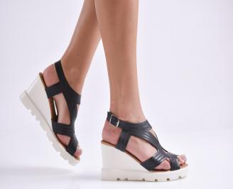 Дамски сандали на платформа еко кожа черни YAHH-23828