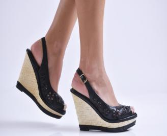 Дамски сандали на платформа еко кожа черни ANSJ-23831