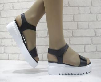 Дамски сандали на платформа естествена кожа черни EVUX-23861