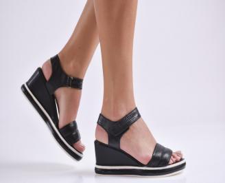 Дамски сандали на платформа естествена кожа черни HRAJ-23862