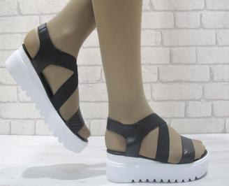 Дамски сандали на платформа естествена кожа черни QUJK-23863
