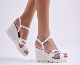 Дамски сандали на платформа естествена кожа бели CILH-23868