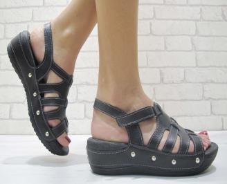 Дамски сандали на платформа естествена кожа черни XCFZ-23879