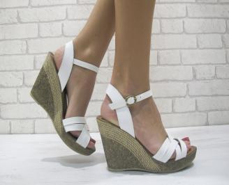 Дамски сандали на платформа бели естествена кожа LJGA-23883