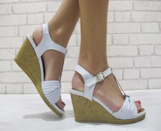 Дамски сандали на платформа еко кожа сини TRUN-23887
