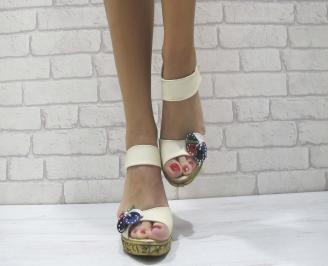 Дамски сандали на платформа бежови еко кожа WUWD-23889