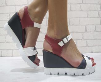 Дамски сандали на платформа еко кожа черно/бяло/червено NXHY-23890