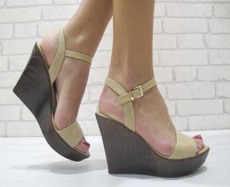 Дамски сандали на платформа естествена кожа бежови FNEQ-23893