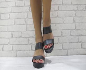 Дамски сандали на платформа еко кожа черни VNMB-23896