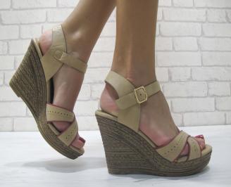 Дамски сандали на платформа еко кожа бежови PBLW-23902