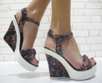 Дамски сандали на платформа на цветя дантела DJNO-23906