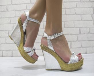 Дамски сандали на платформа еко кожа сребристи JQCK-23907