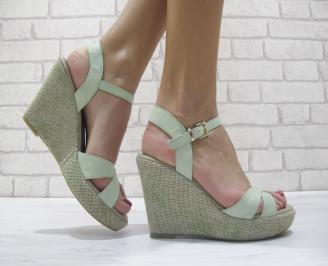 Дамски сандали на платформа естествена кожа зелени HBMN-23908