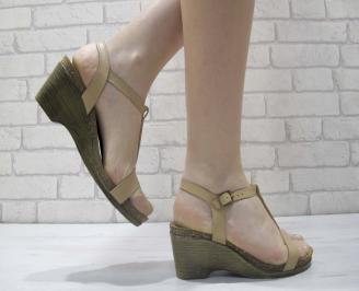 Дамски сандали на платформа естествена кожа бежови CANQ-23913