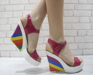 Дамски сандали на платформа еко ожа/лак лилави OKHF-23915