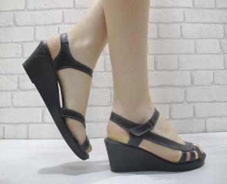 Дамски сандали на платформа черни естествена кожа GMNF-23916