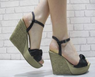 Дамски сандали на платформа естествена кожа черни XWWY-23918