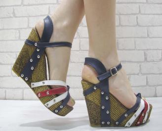 Дамски сандали на платформа бяло/синьо/червено еко кожа YUSJ-23919