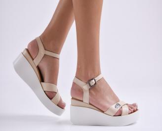Дамски сандали на платформа бежови еко кожа CAIR-23975