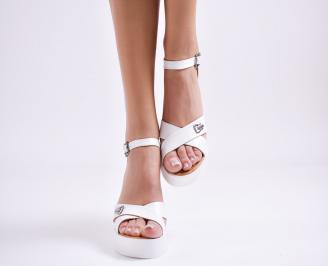 Дамски сандали на платформа бели естествена кожа WPHN-23978