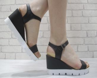 Дамски сандали на платформа черни естествена кожа BZDQ-23980