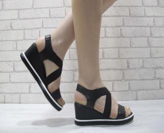Дамски сандали на платформа черни естествена кожа SDPW-23983