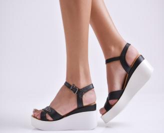 Дамски сандали на платформа черни естествена кожа OKGT-24041