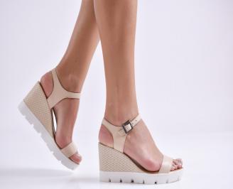 Дамски сандали на платформа бежови естествена кожа ASWD-24044